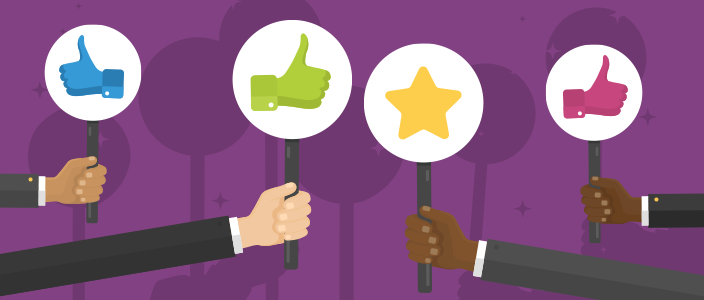 Group of business people holding thumbs up and star signs