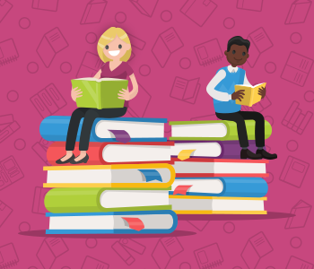 Two adults sitting atop stacked books, reading