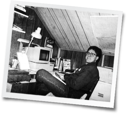 Dean Witherspoon in his attic, 1992.