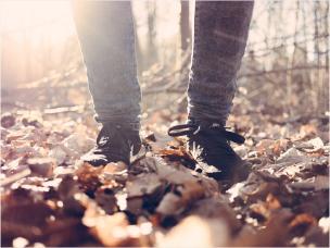 walking through autumn woods