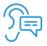 blue icon of an ear and speech bubble