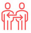 red icon showing two people standing next to each other with arrows representing exchange