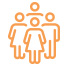 orange icon of four people