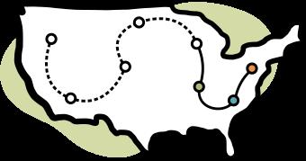 Coast to Coast Map of the United States