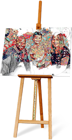 easel with a colorful painting of a family